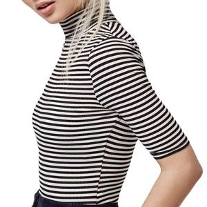 Topshop Tops - Topshop stripe funnel neck bodysuit